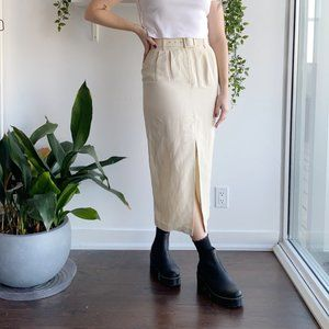 linen cream midi skirt with matching belt